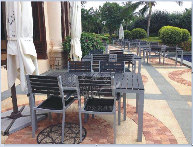 广州雅亭厂家YT-3300铝制塑木餐桌椅定制